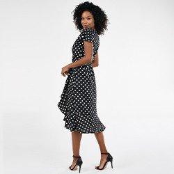 vestido preto e branco estampado raisa mini