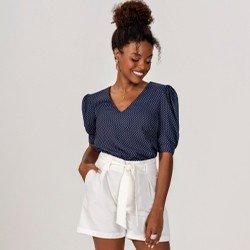 blusa decote v manga bufante seleny mini