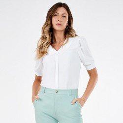 blusa off white com gola sabrine mini