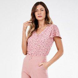 blusa rosa com estampa floral selma mini