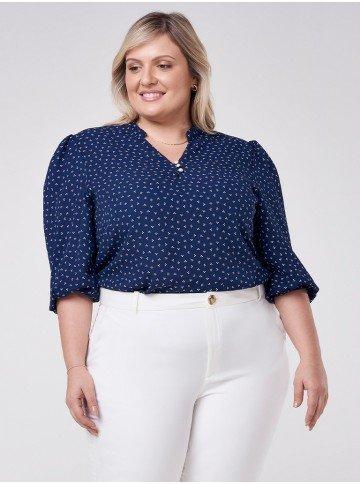 blusa manga curta plus size estampa gravataria marinho talita