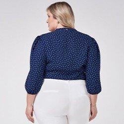 blusa plus size com manga bufante curta talita mini
