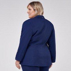 blazer feminino plus size de alfaiataria marinh tifani mini