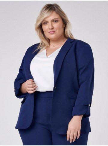 blazer plus size feminino manga longa tifani