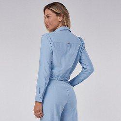 camisa feminina azul com elastico thayssa mini