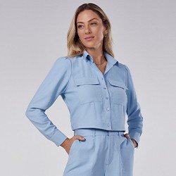 camisa feminina bomber azul com elastico thayssa mini