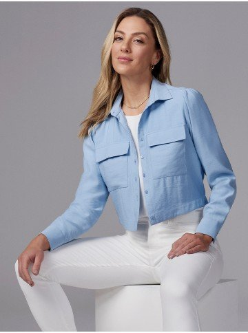 camisa feminina bomber azul com elastico thayssa