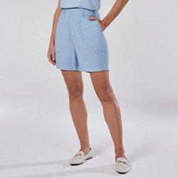 bermuda feminina azul com bolso tammy mini