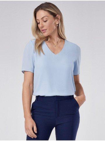 blusa feminina de crepe azul manga curta decote v ticiane