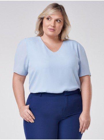 blusa plus size azul decote v ticiane