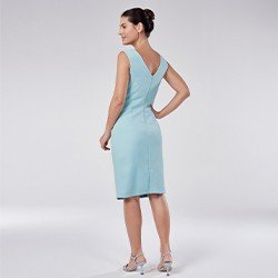 vestido tubinho de alfaiataria azul tais mini