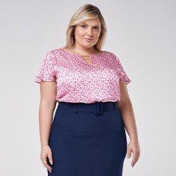 blusa de cetim plus size floral manga evase tuane mini