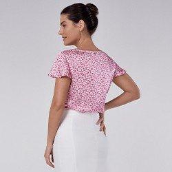 blusa de cetim floral manga evase tuane mini