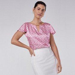 blusa de cetim floral manga curta tuane mini