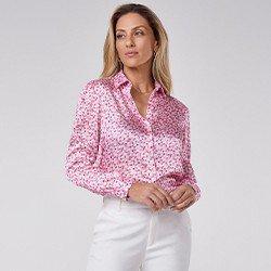 camisa feminina floral rosa manga longa teodora mini