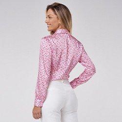 camisa feminina floral manga longa bufante teodora mini