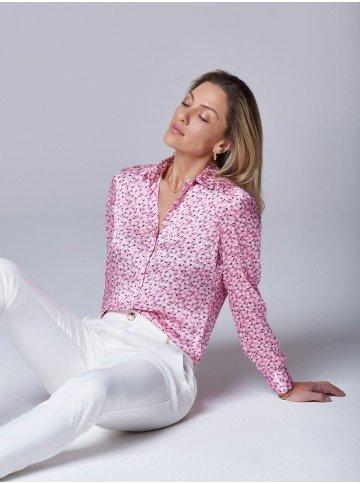 camisa feminina floral rosa teodora