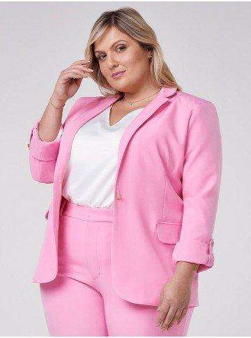 blazer feminino plus size de alfaiataria rosa taeme