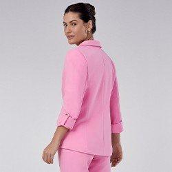 blazer feminino de alfaiataria rosa com martingale taeme minii