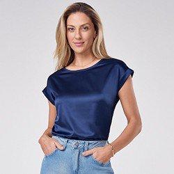 blusa com decote redondo em cetim vilma mini