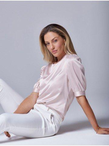 blusa manga curta com decote v valci