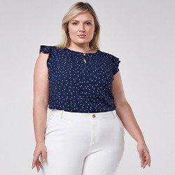 blusa azul marinho plus size estampa folha vera mini