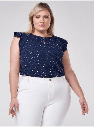 blusa azul marinho plus size com estampa folha branca vera