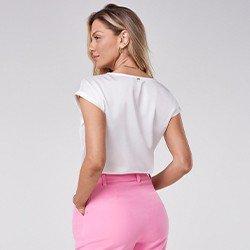 blusa branca de cetim zenilda mini