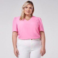 blusa decote v plus size manga bufante mini