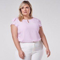 blusa plus size com renda nos ombros zoe mini