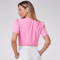 blusa rosa manga bufante mini