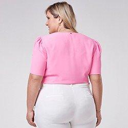 blusa rosa plus size manga bufante mini
