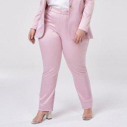calca de alfaiataria rosa plus size mariana mini