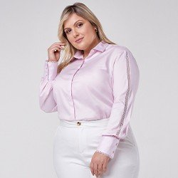 camisa manga longa com renda plus size zaya mini