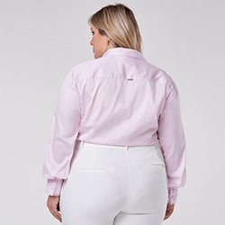 camisa manga longa plus size rosa zaya mini