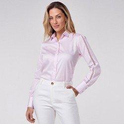 camisa manga longa rosa zaya mini