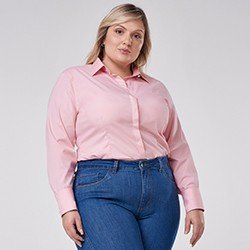 camisa social plus size rosa janara mini