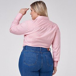 camisa social plus size rosa manga longa janara mini