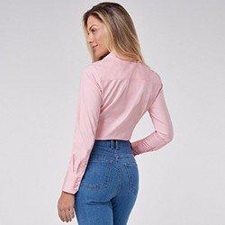 camisa social rosa manga longa janara mini