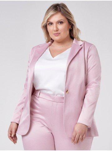 blazer de alfaiataria feminino rosa plus size miyuki