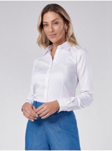 camisa classica branca bordada roberta