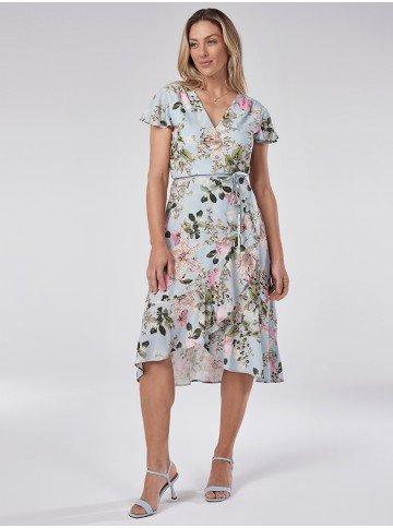 vestido floral transpassado tatiana