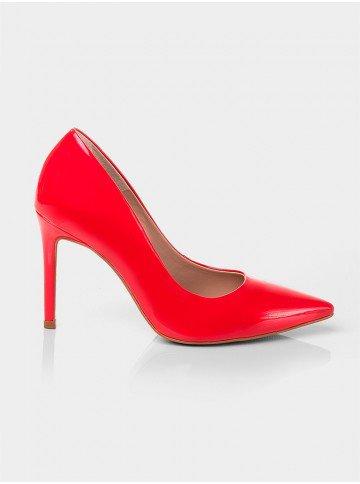 scarpin salto agulha vermelho gesiely