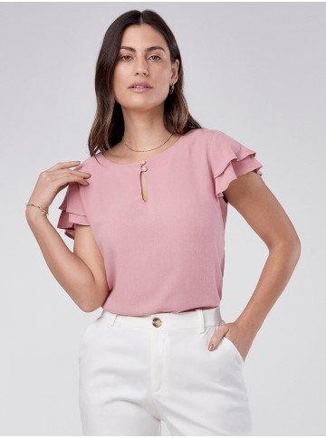 blusa feminina rose com babado veridiana