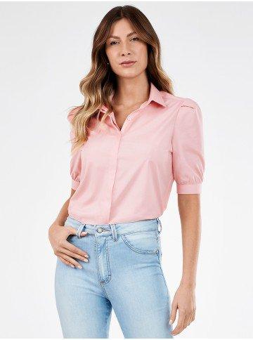 camisa feminina rosa manga curta sonia
