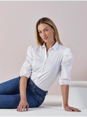 camisa branca com manga bufante elmira